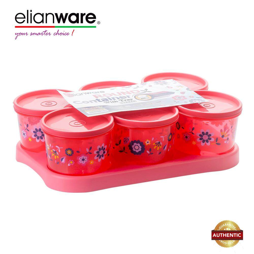 Elianware 6 Pcs Snacks Candy Round Airtight Plastic Container with Tray