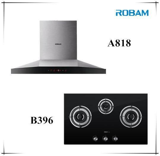 ROBAM A818 Chimney Hood + B396 3 Burners Glass Hoob
