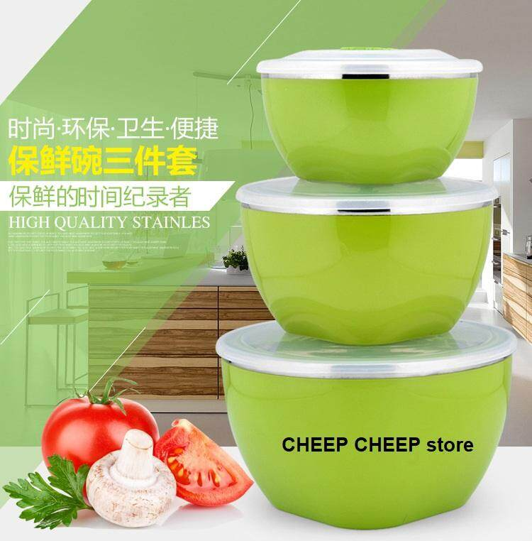 Stainless steel Keep Warm Korean Multi-Functional Sealed Fresh Bowl gifts set (set of 3 bowls 600ml