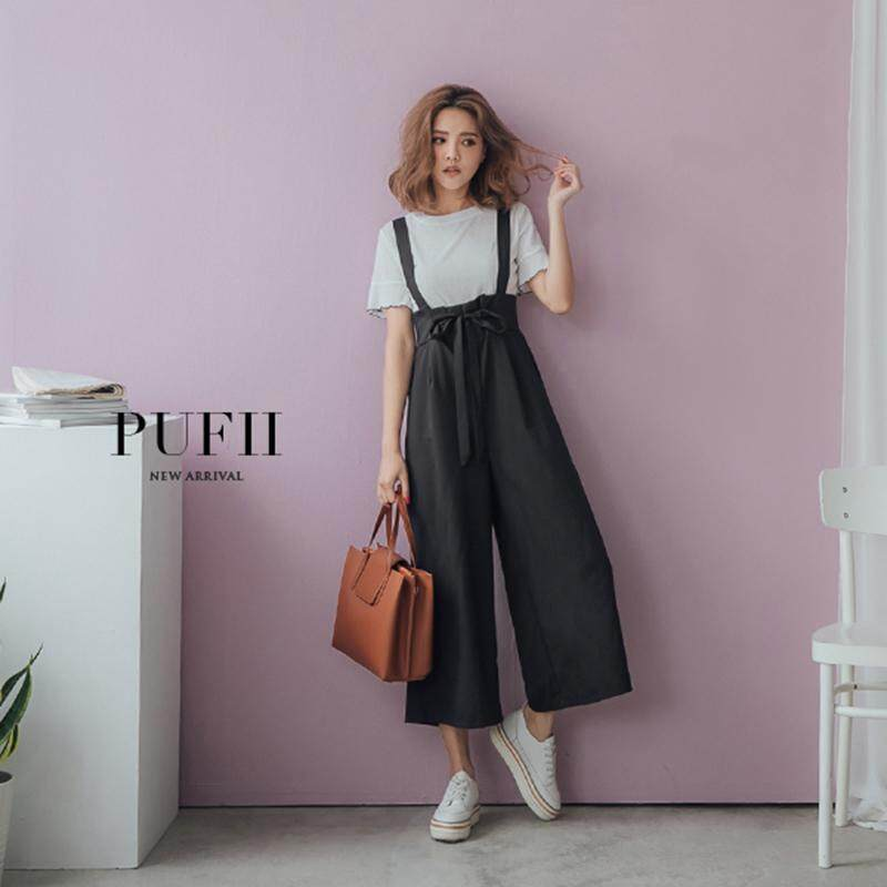 ?PRE-ORDER 21 DAYS?High waist strap wide leg pants T-shirt two-piece suit