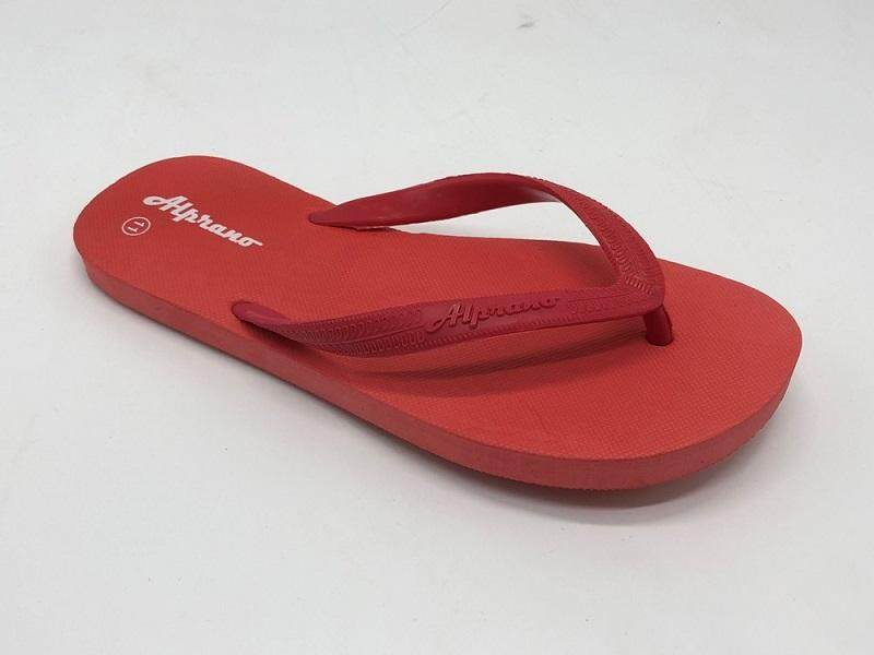 Alprano APM-01 Rubber Anti Slip Flat Slippers Beach Slippers Men Designs Size 9-11 (UK Size 8) (Red)
