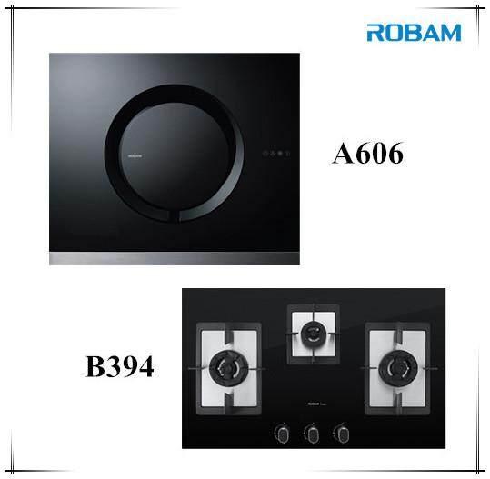ROBAM A606 Chimney Hood + B394 3 Burners Glass Hob
