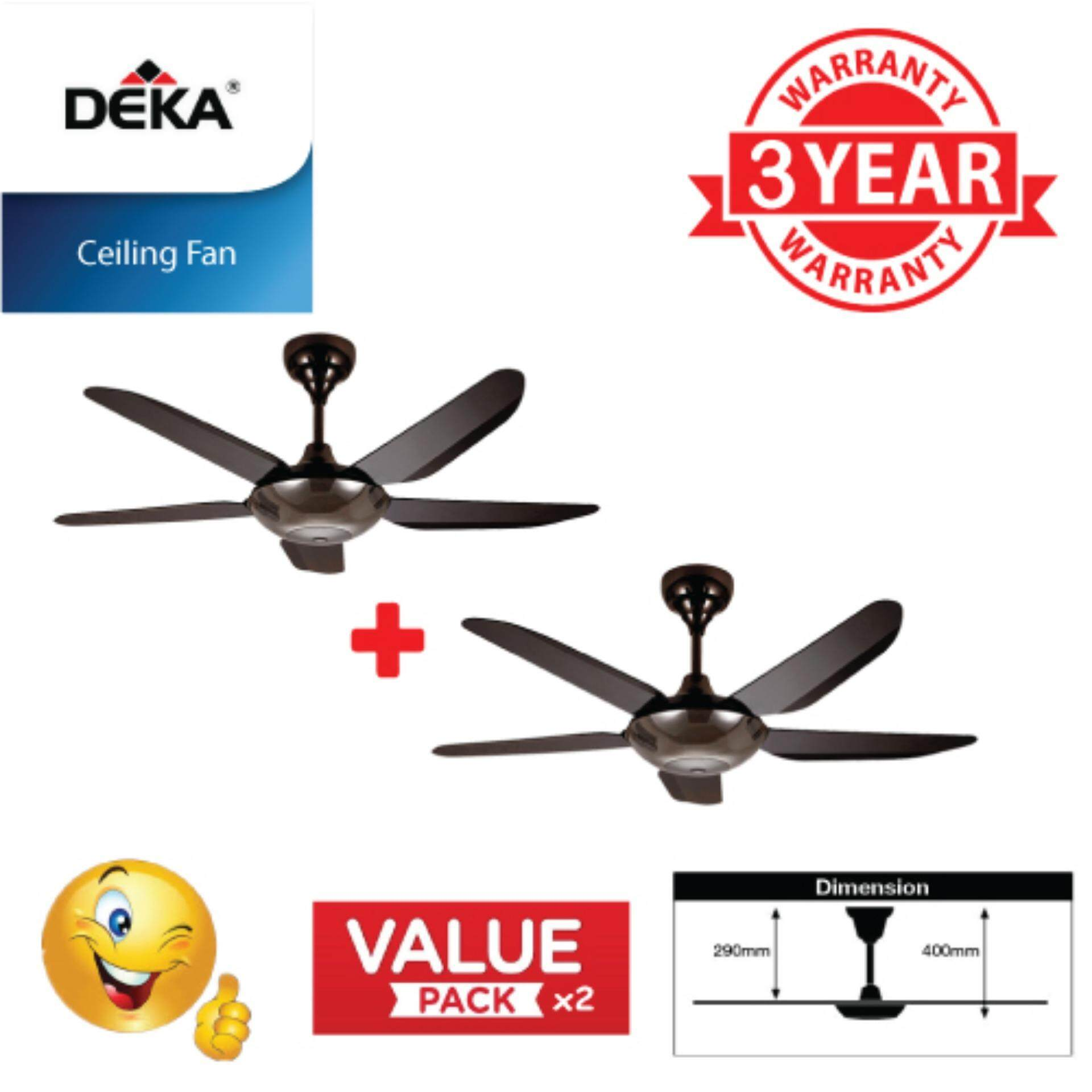 CEILING FAN DEKA BABY6N-5B-GM C/W RC (2 Pack)