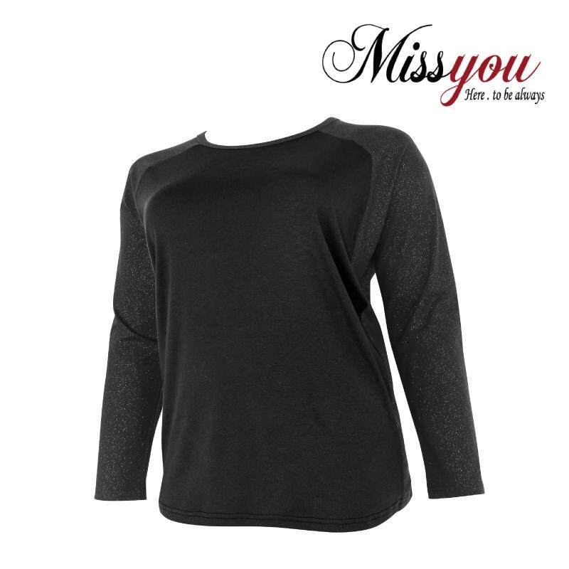MISS YOU PLUS SIZE Long Sleeves Colour Block Shimmer Sweatshirt MY300005 (Black)