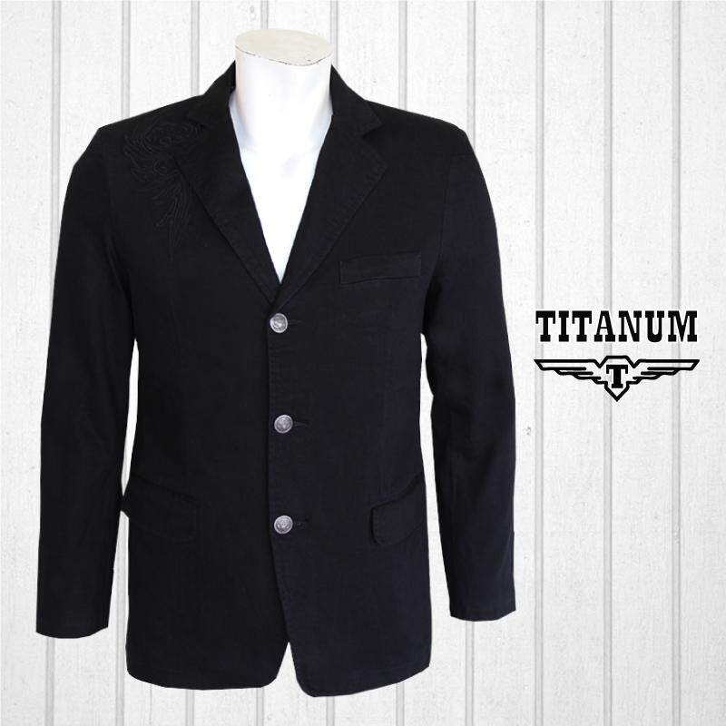 TITANUM BIG SIZE Long Sleeves Blazer with Embroidery TIM7006 (Black)