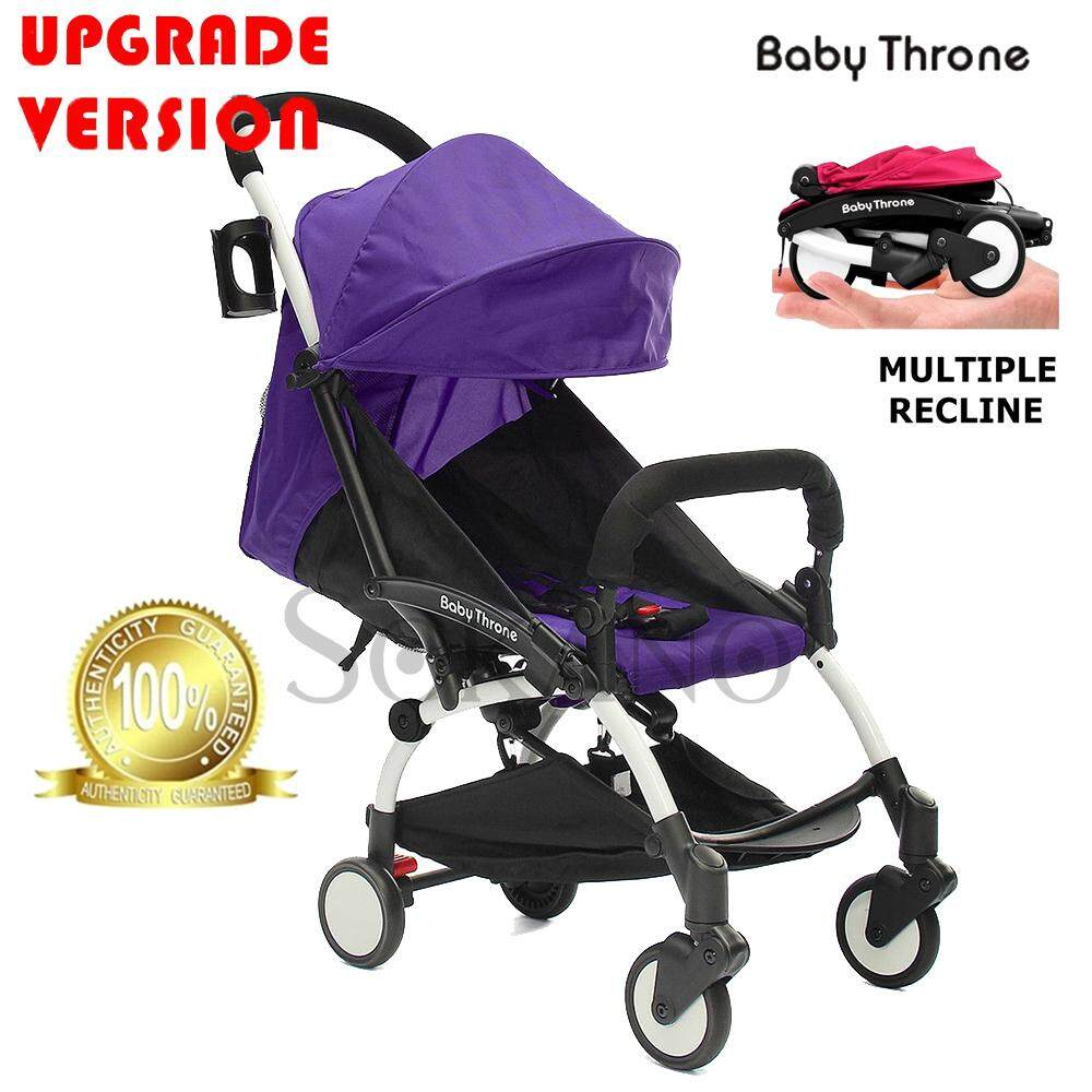 (Upgrade Version) Baby Throne Premium Lightweight Multiple Recline Super Compact Foldable Stroller (100% Authentic)- Purple