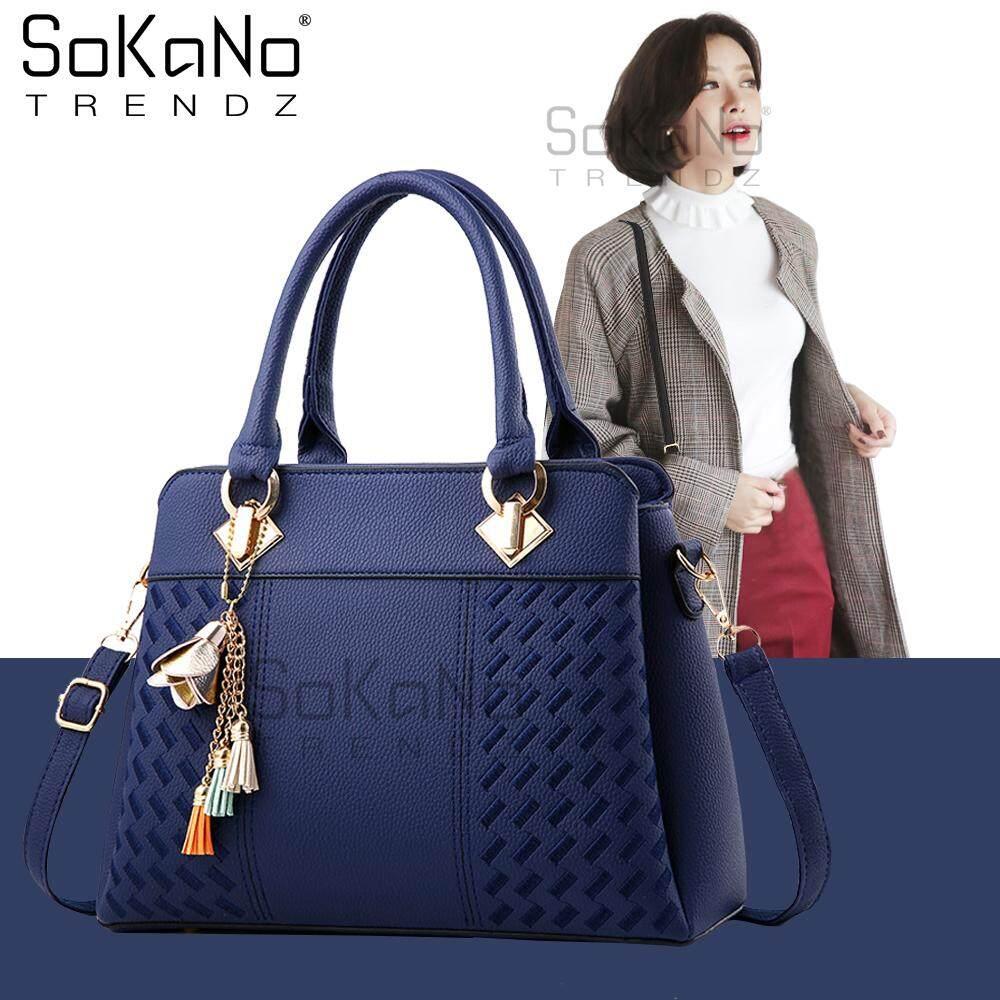 SoKaNo Trendz SKN843 Elegant Shoulder PU Leather Top Handle Tote Bag With Flower Charm Handbeg Wanita