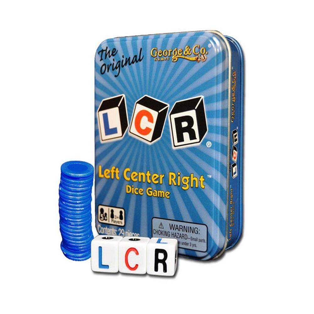 LCR Left Center Right Dice Game in Blue Tin