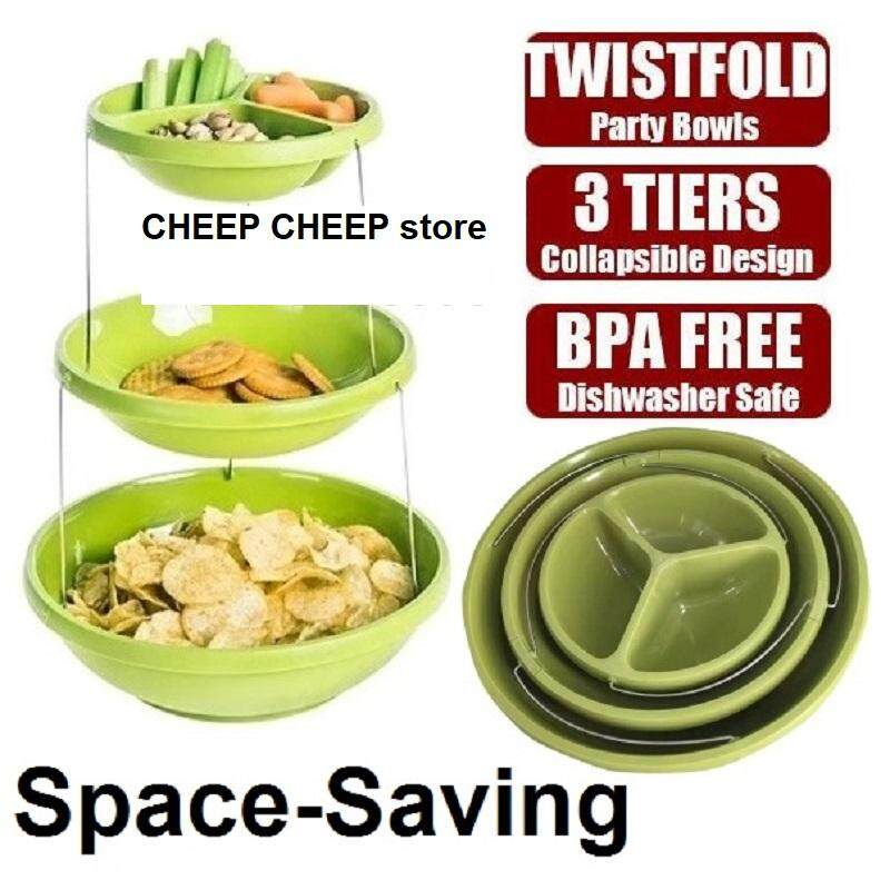 Twist Fold Party Bowls Collapsible Nesting 3 Layers Serving Bowl for Snacks Cookies Popcorn Candies Nuts Fruits – Space Saving