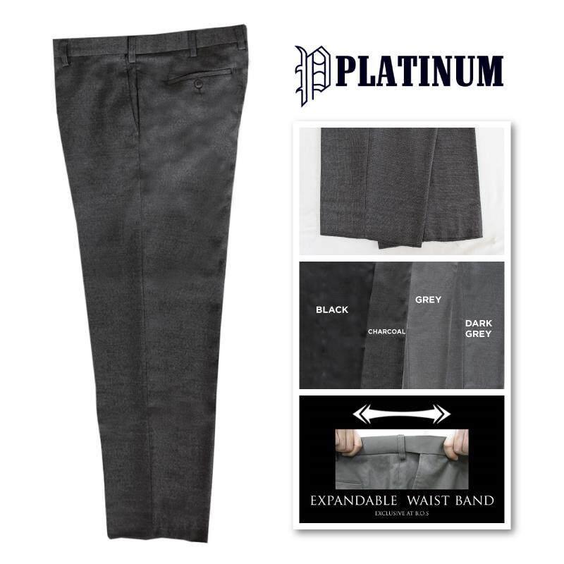 PLATINUM BIG SIZE Flat Front Tic Weave Slacks PMP633 (Charcoal)
