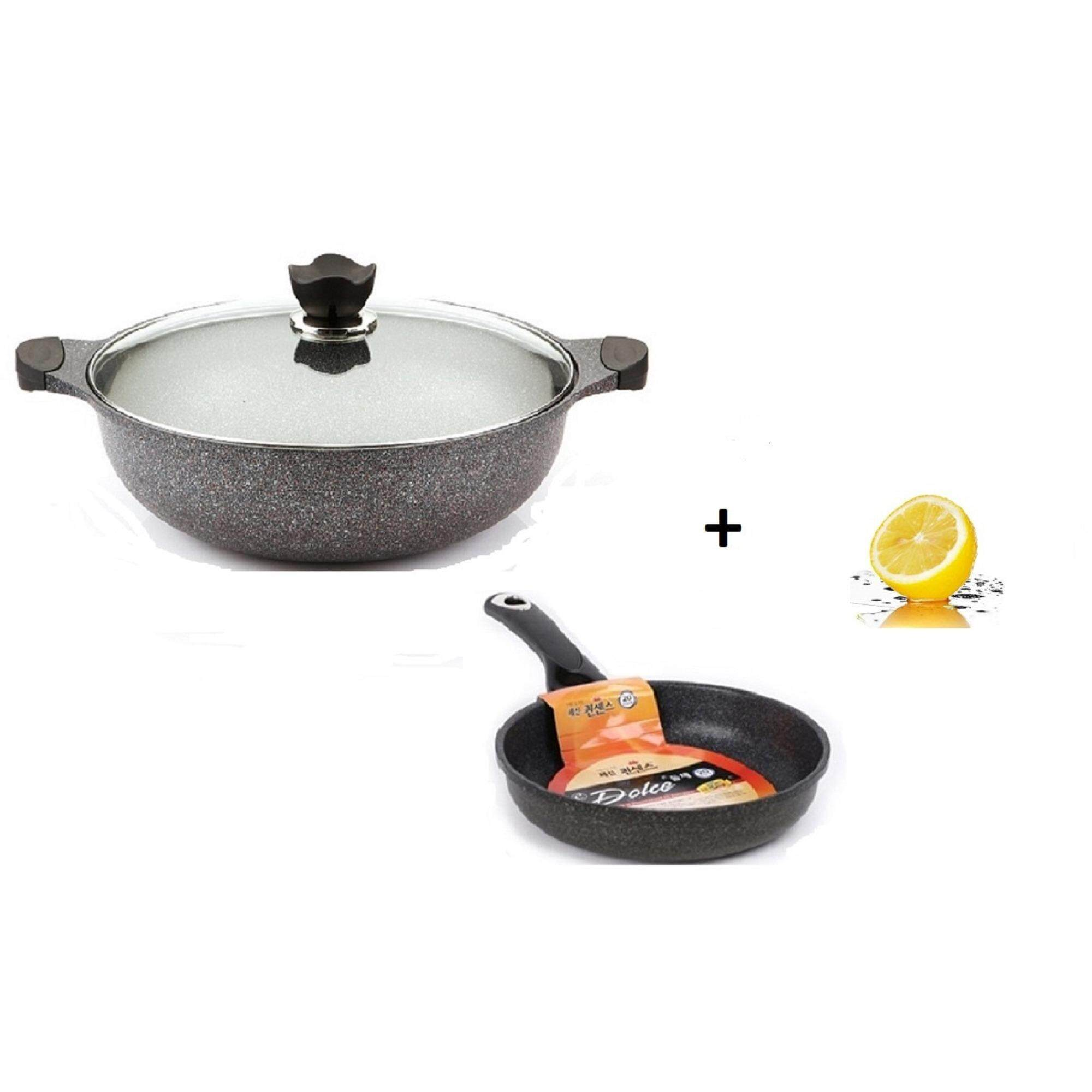 Queensense 2-pcs 36cm Jumbo Marble w Reinforced Titanium Wok With Lid (IH) + 20cm Marble Fry Pan Cookware Set