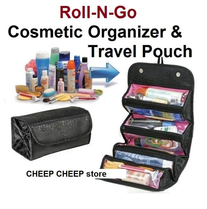 Roll n Go Cosmetic Bag for MakeUp Toiletry Jewelry Travel Bag Organizer Vanity Pouch Space Saver