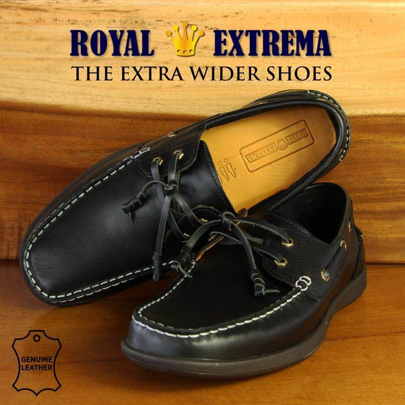 ROYAL EXTREMA EXTRA WIDE Leather Casual Moccasins RESH0007C3 (Black)