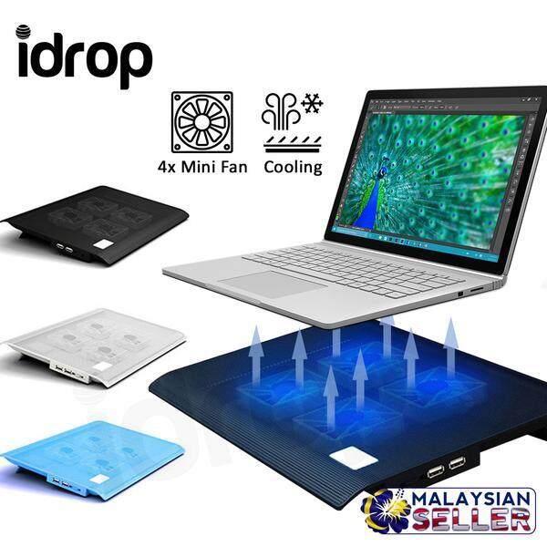 "idrop L112 14""-15.6"" LED Light Cooling Pad - Slim Portable USB Powered  4 Mini Fans"