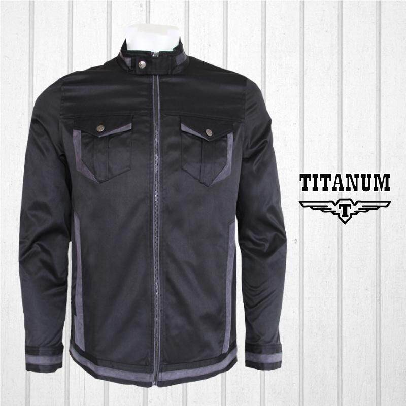 TITANUM BIG SIZE Black Jacket with Lining TIM7003 (Black)