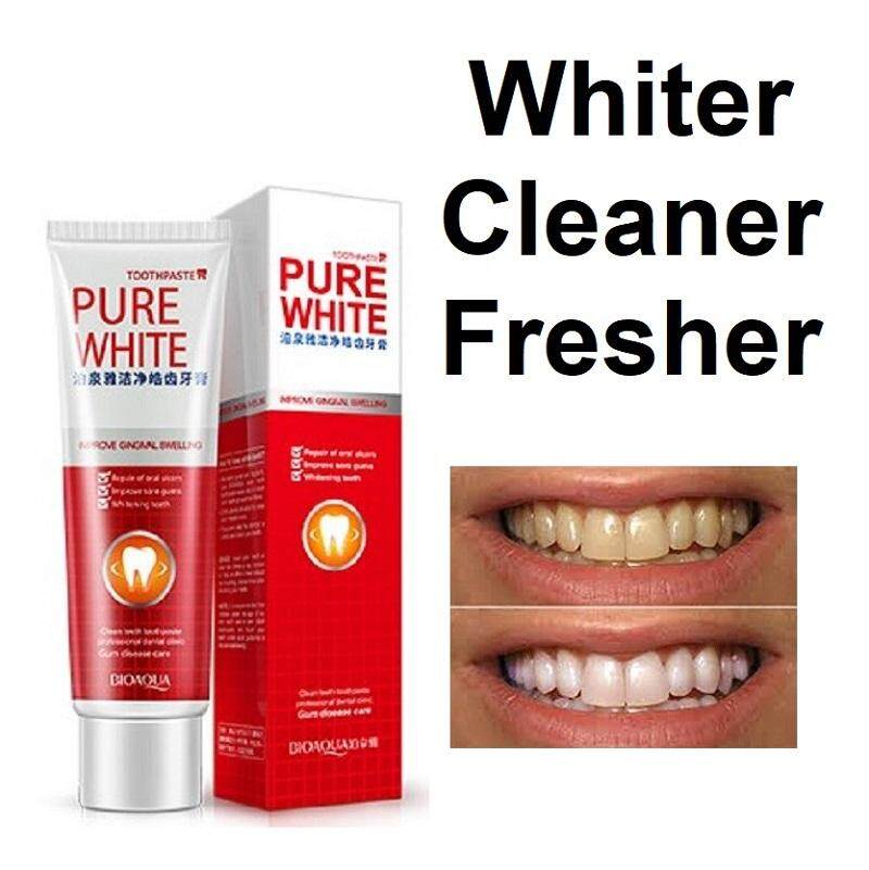 Bioaqua Pure White Whitening Toothpaste for Whiter Teeth Healthier Gums Fresher Breath – Removes Coffee Tea Food Cigarette Stain Discoloration Soothe Mouth Ulcer Sore Gums Gum Care Protection 120g