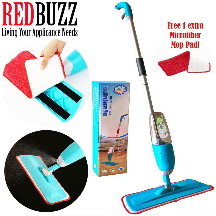REDBUZZ Easy Spray Mop with Microfiber Refill Mop Pads (Blue) + Free One Extra Microfiber Mop Pad