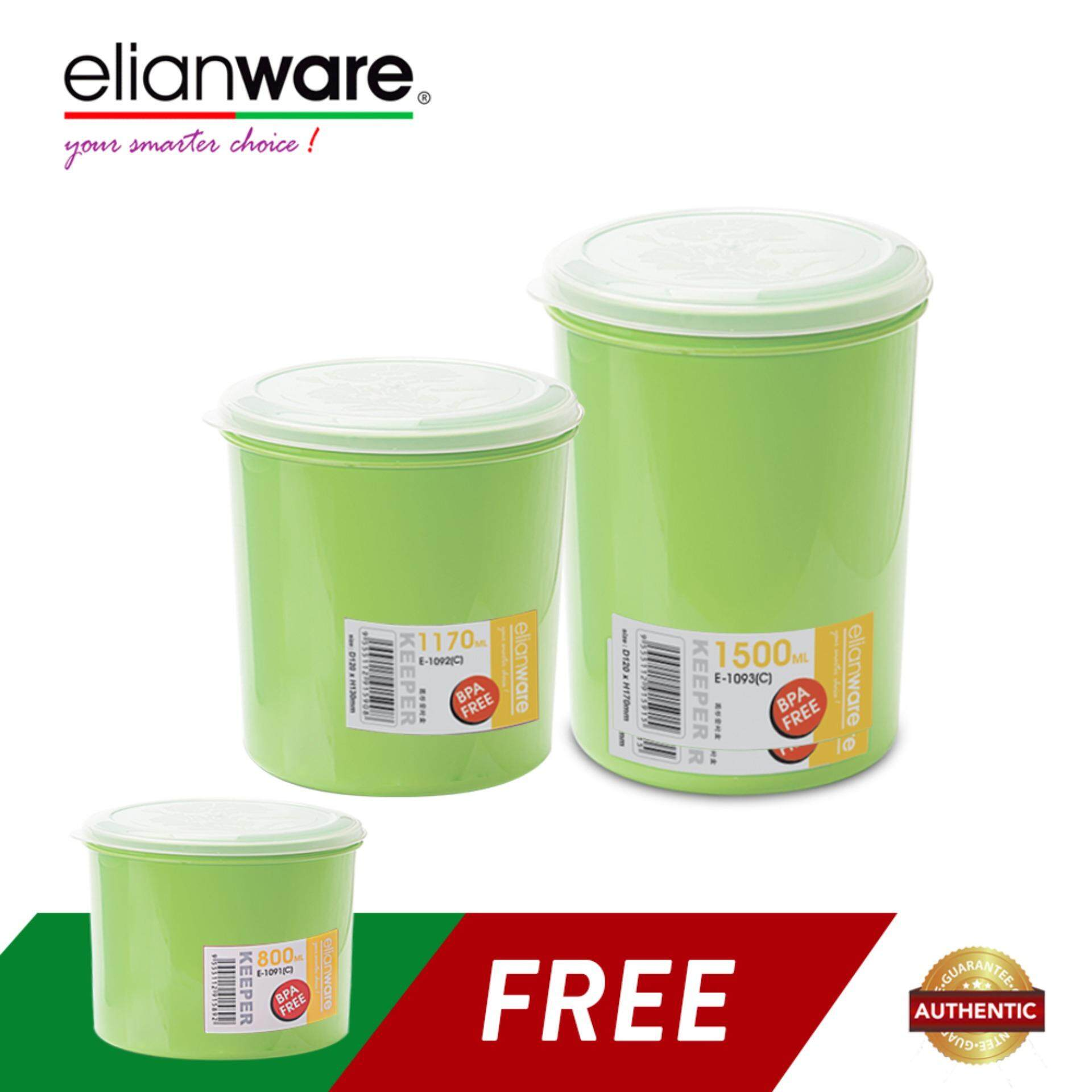 Elianware 3 Pcs BPA Free Microwavable Round Solid Plastic Food Containers Set