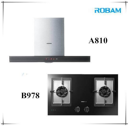 ROBAM A810 Chimney Hood + B978 2 Burners Glass Hob