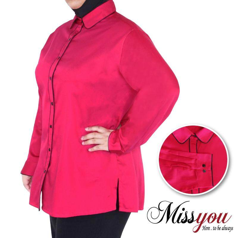 MISS YOU PLUS SIZE Ladies Formal Long Sleeves with Contrast Piping MY900005 (Rose Pink)