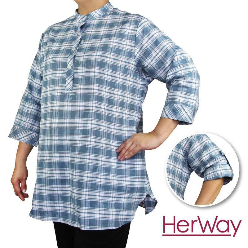 HERWAY PLUS SIZE Ladies Smart Casual Three Quarter Sleeve Long Blouse HW9035 (Grey)
