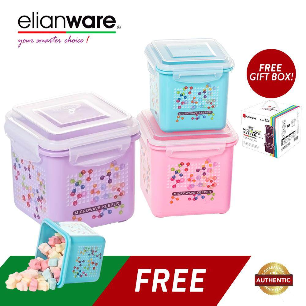 Elianware (BUY 3 FREE 1) Ezy-Lock 100% Airtight Neutron Microwavable Food Containers