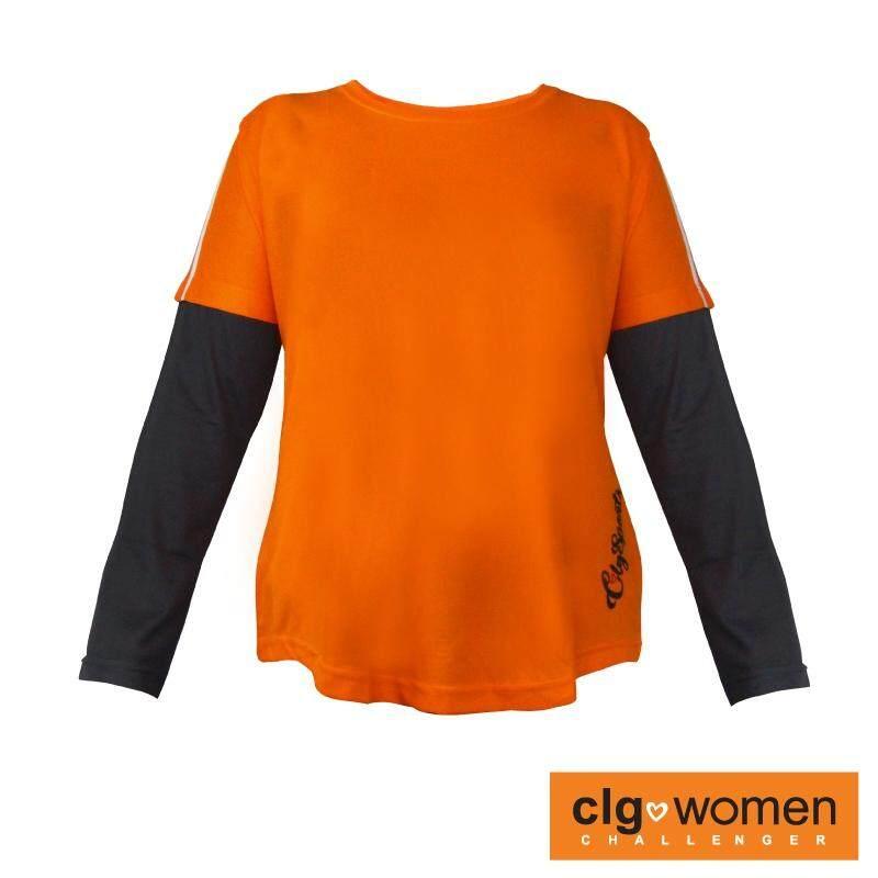 CHALLENGER WOMEN PLUS SIZE Round Neck 2 in 1 Tee CHW300002 (Orange)