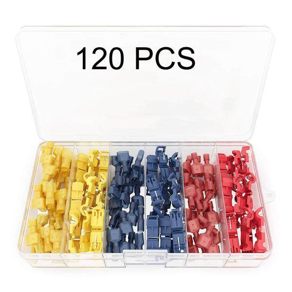 ✅【120PCS】T Tap Electrical Connectors – Quick Wire Splice Taps and Insulated Male Quick Disconnect Terminals