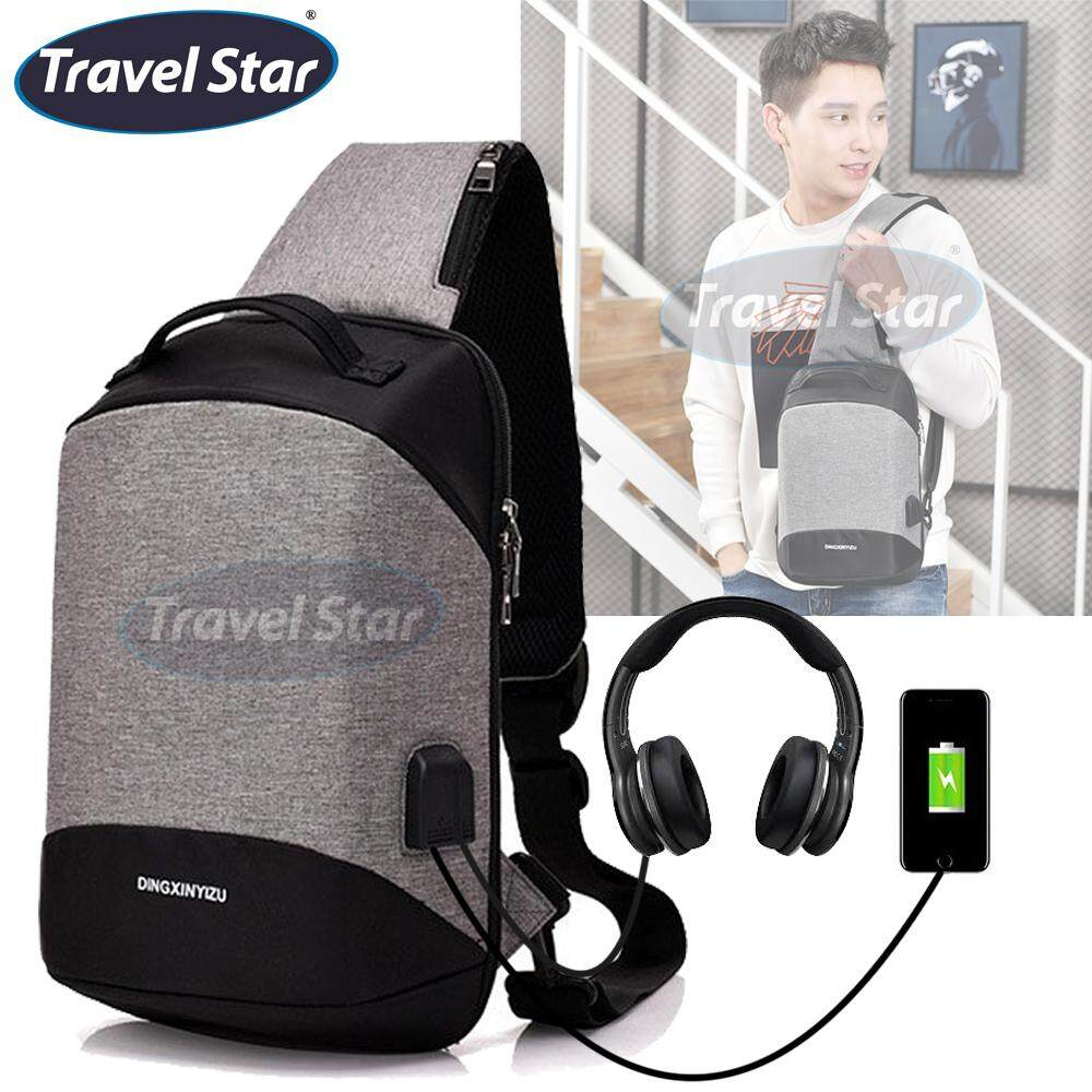 Travel Star 9928 Antitheft Solid Design Premium Shoulder Crossbody Bag With External USB and Earphone Ports - Grey