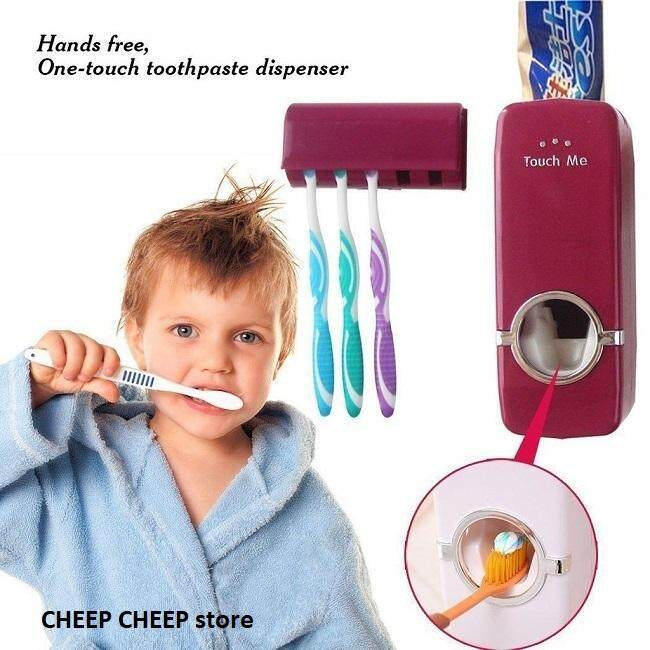 2 in 1 Automatic Toothpaste Dispenser + FREE Toothbrush Holder (MAROON RED) Hands Free Fast Easy - Touch Me