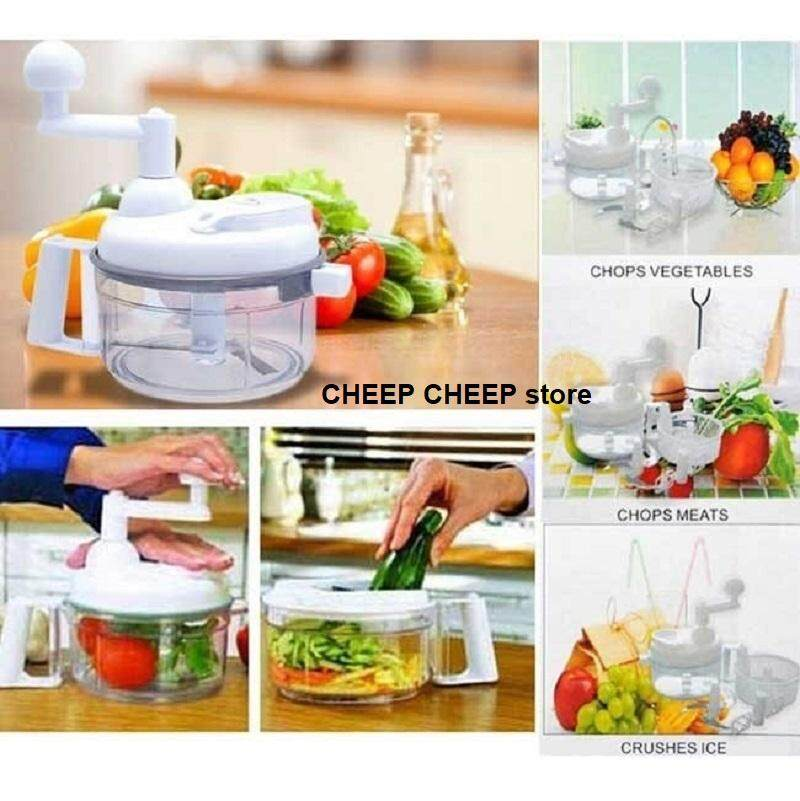 Swift Chopper Multi Function Manual Food Processor Chopper Blender Salad Spinner Mixer Hand Blender - Chops Vegetable Fruits Meat Ice Crusher Mixes Baking Batter Whisk Egg Beater