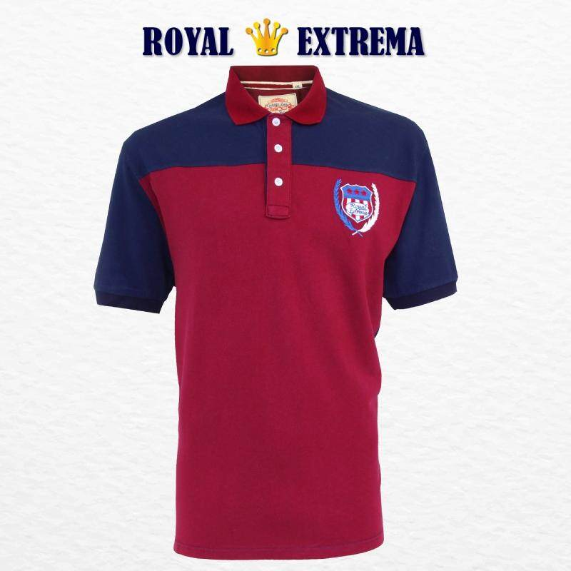 ROYAL EXTREMA BIG SIZE Men's Polo Cut & Sew Tee RE2009 (Maroon)