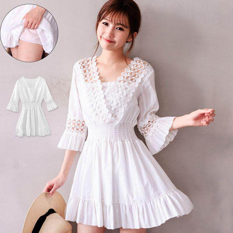 ?PRE-ORDER 21 DAYS?Cotton and linen three-dimensional embroidery V-neck wrapped chest white dress