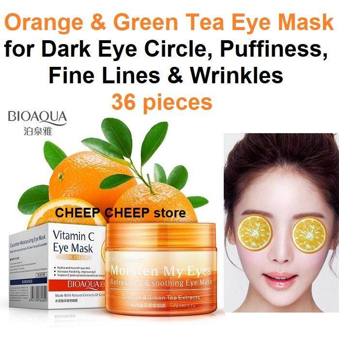 Bioaqua Vitamin C Eye Mask Moisten My Eyes with Soothing Refreshing Moisturizing Orange & Green Tea Extract for Dark Eye Circle Fine Lines Wrinkles Puffy Eyes 36 pieces