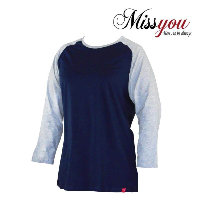 MISS YOU PLUS SIZE Round Neck 4/5 Sleeves Raglan Tees MY300008 (Navy)