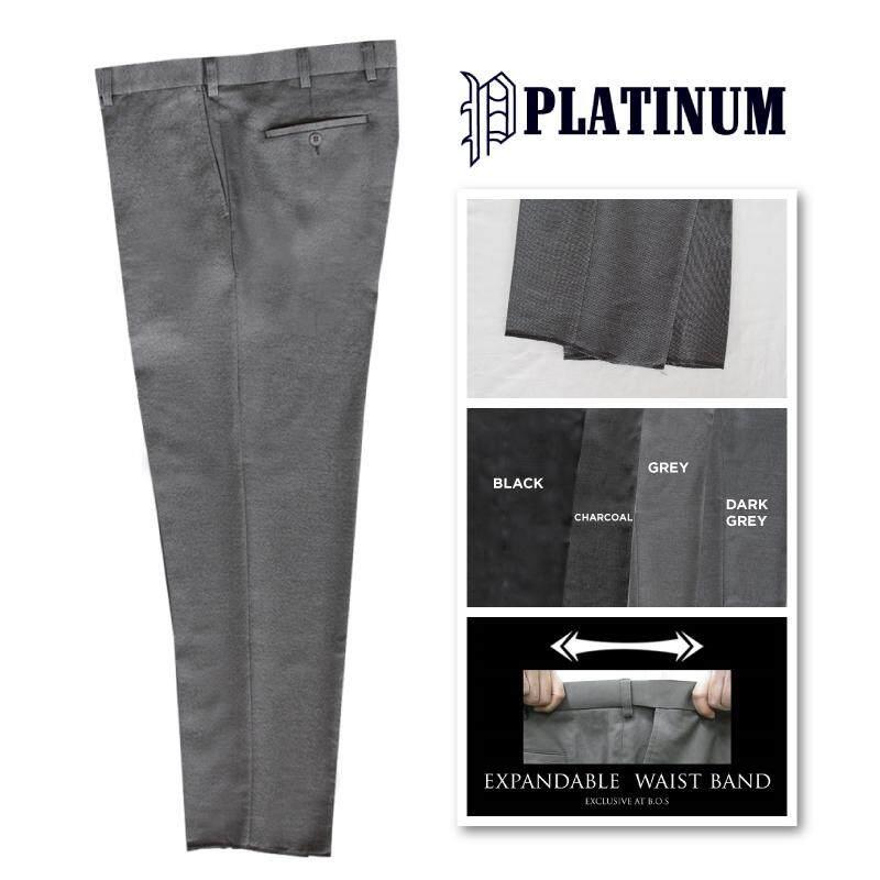 PLATINUM BIG SIZE Flat Front Tic Weave Slacks PMP633 (Grey)