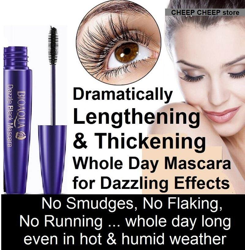 Bioaqua Dazzle Black Mascara Long Lasting Waterproof Lengthening Volumizing Curling Mascara for Hot Humid Weather 8g