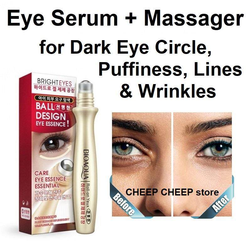 Bioaqua Bright Eyes Roll-On Yeux Ball Design Eye Essence Essential Firming Moisturizing Serum Massage Roller for Dark Eye Circle Puffiness Fine Lines Wrinkles Crows Feet 15ml