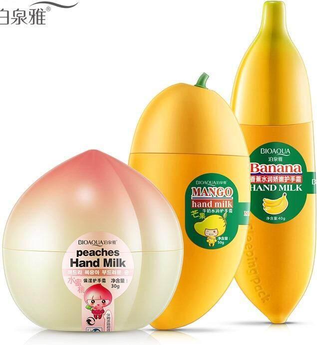 3 pc BioAqua Fruity Mini Hand Cream - Cute & Small – Improves Dry Rough Crackling Skin & Chapping Nails (Fruity)