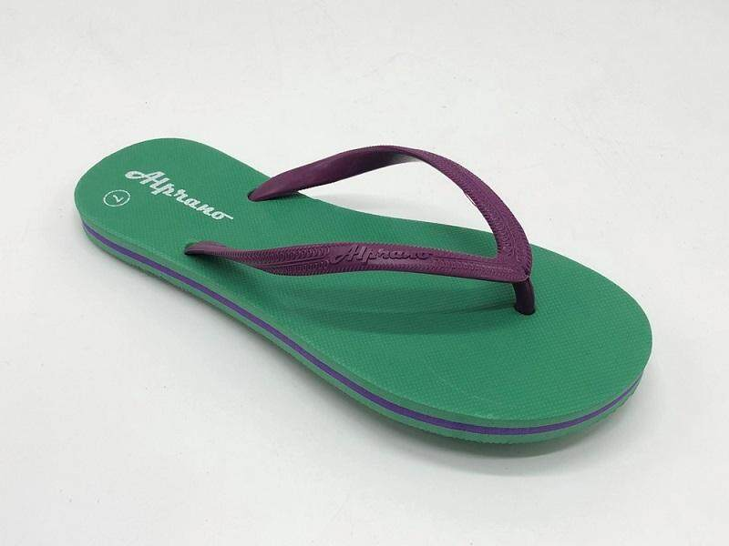 Alprano APL-06 Rubber Anti Slip Flat Slippers Beach Slippers Ladies Designs UK Size 5 (Green)