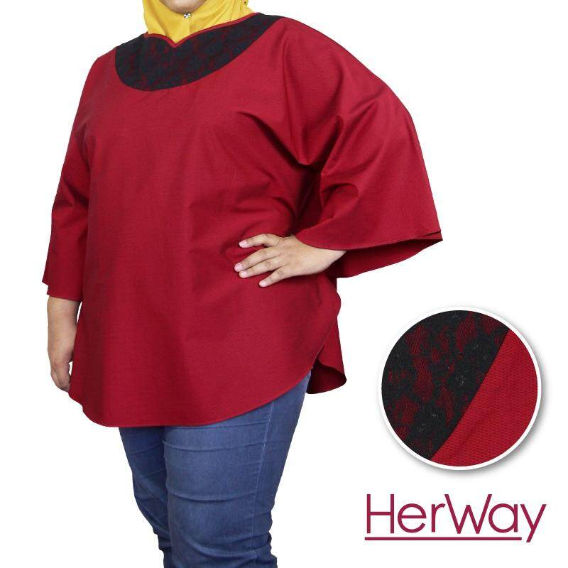 HERWAY PLUS SIZE Ladies Lace V-Neck Butterfly Sleeve Blouse HW9033 (Red)