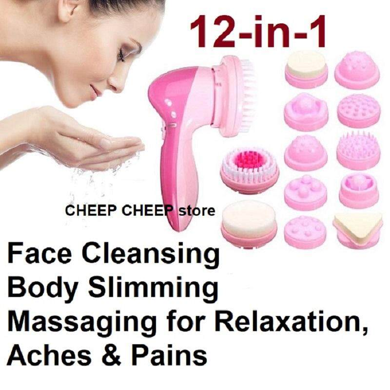 MultiFunction 12 in 1 Face & Body Facial Beauty Massager – Cleansing Exfoliating Firming Slimming Pain Relieving Relaxing