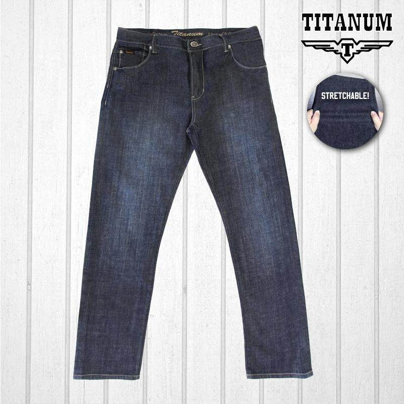 TITANUM BIG SIZE Stretchable Jeans with Embroidery TJP610 (Blue)