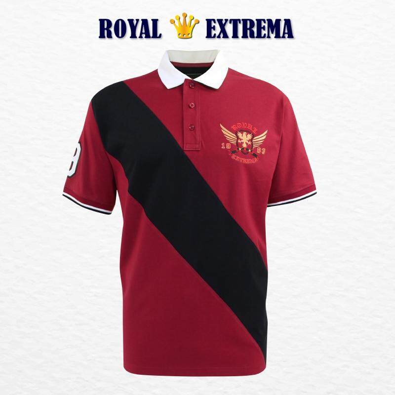 ROYAL EXTREMA BIG SIZE Men's Polo Woven Collar Cut & Sew Tee RE2002 (Maroon)