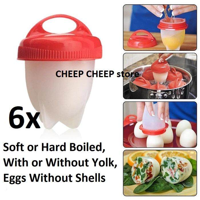 6 pcs Non Stick Silicone Egg Boiler Eggies Cup Pod Inserts Egglettes Egg Cooker Cooking Container Mold Mould - Hard Boil Eggs Boiled Without Shell