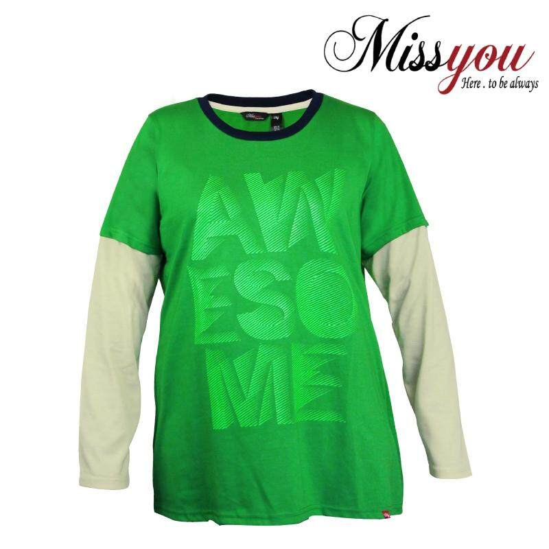 MISS YOU PLUS SIZE Ladies Casual 2 in 1 Long Sleeves with Printing MY300016 (Green)