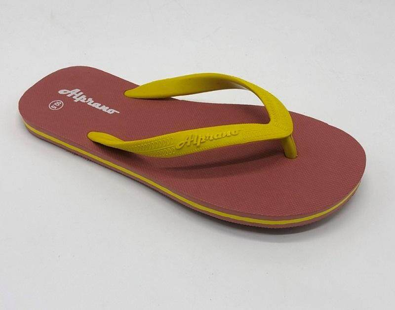 Alprano APM-06 Rubber Anti Slip Flat Slippers Beach Slippers Men Designs Size 9-11 (UK Size 9) (Red Brown)