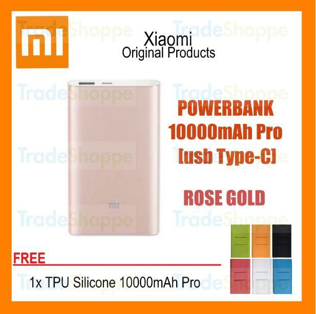 [Free Case] Xiaomi Mi Powerbank Pro 10000mAh Gold Slim USB-C Type-C Fast Charge Power Bank