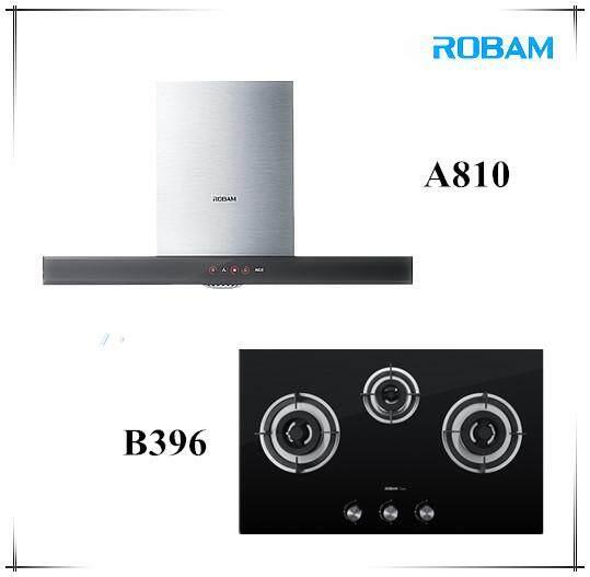 ROBAM A810 Chimney Hood + B396 3 Burners Glass Hoob