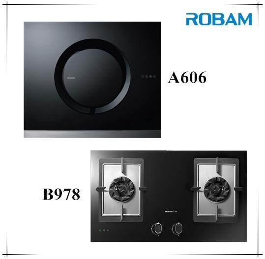 ROBAM A606 Chimney Hood + B978 2 Burners Glass Hob